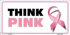 Think Pink Breast Cancer Pink Ribbon Metal Vanity License Plate Auto Tag Sign