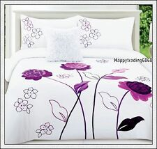 280TC White Dark Purple Flower Embroidered * 3pc QUEEN QUILT DOONA COVER SET