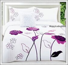 280TC White Dark Purple Flower Embroidered * 3pc KING QUILT DOONA COVER SET