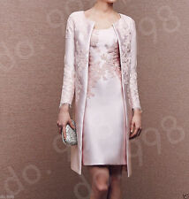 Royal Style Mother of The Bride Dress With Jacket Long Sleeve Satin Formal Gown
