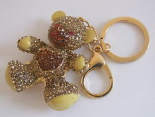 HANDBAG BUCKLE CHARM RED ORANGE & GOLD CRYSTAL JOINTED TEDDY BEAR KEY RING CHAIN