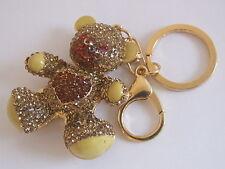 Handbag Fibbia Ciondolo Rosso Arancio & Oro Crystal di giunti sferici Teddy Bear Portachiavi Catena