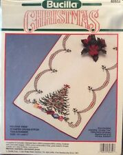 Bucilla Holiday Tree Christmas Table Runner Stamped Cross Stitch Kit New 82652