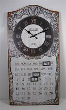 """Metal Antique Style Perpetual Wall Mount Calendar and Clock 12"""" x 23.5"""""""