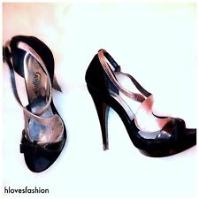 ��NEW LOOK Black Silver Velvet Platform Peep Toe Heels UK 6 EU 39 US 8 ��