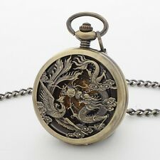 BRASS DRAGON FLY CARVED HALF HUNTER SKELETON DIAL WIND UP MENS POCKET WATCH