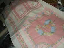 Vintage Weilwood Industries Fabric Panel-Pillows/Quilt Blocks-Pinks-Animals/Hear