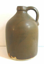 "VINTAGE RUSTIC BROWN FINISHED STONEWARE POTTERY JUG 11"" TALL MUST SEE!"