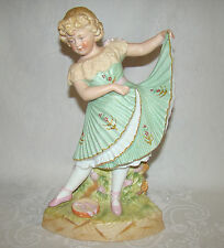 Antique Gebruder Heubach Little Dancing Girl & Tamborine German Bisque Figurine