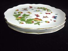 """Royal Crown Japan SPRING TIME 2 Luncheon Plates Butterfly Strawberries 9 1/8 """""""