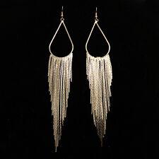 Fashion Exaggeration Tasseled Earrings Golden square chain Earring DD28