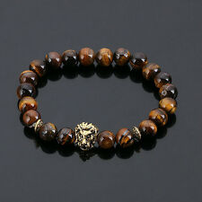 DF4 Natural Lava Stone Beads Brown & Gold Lion Head Stretch Bracelet