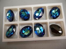 2 swarovski oval brooch stones,30x22mm bermuda blue #4127