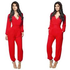 NEW LADIES WOMENS V NECK LONG TROUSER BODYCON PARTY CLUB PLAYSUIT JUMPSUIT
