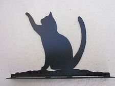 CUSTOM CAT PAWING MAILBOX TOPPER (NO  NAME) RAW STEEL  FINISH