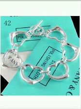 Heart & Chain Bracelet / Bangle - 925 Stamped Silver christmas lady men gift bag