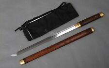 Battle ready carbon steel Japanese ninja middle sword straight blade shirasaya