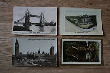4 London Postcards - British Museum,Coronation Chair,Parliament see condition