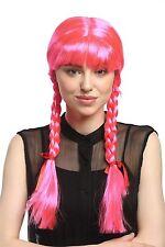 Wig Ladies Carnival Cosplay Carnival Pigtails braided Schoolgirl Pink