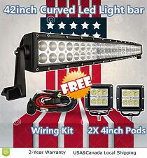 "42inch Curved Led Light Bar + 2X Free 4"" Cree Pods Offroad Lighting Truck SUV 40"