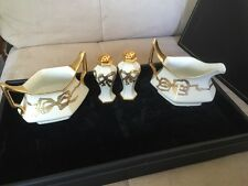 FRANCE ANTIQUE LIMOGES T&V DEPOSE CREAMER SUGAR SALT PEPPER SET IVORY GOLD BOWS