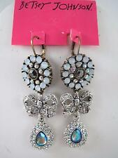 Betsey Johnson silver tone~crystal~stone~bow dangle earrings, NWT