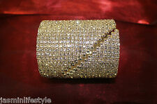 Shiny Diamante Pearl Clamper Bracelet Crystal Bangle Bridal Costume Jewellery