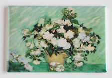 Vase with Pink Roses FRIDGE MAGNET (2 x 3 inches) vincent van gogh painting F681