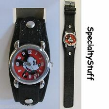 "NEW DISNEY MICKEY ANALOG WATCH 1"" FACE GLITTER BAND CHILDS TIME PIECE (KE)"