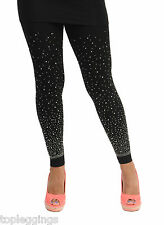 Leggings With Scattered Diamante Gems Stones Beads Details