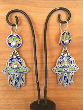 Silver Moroccan Hamsa Earrings Enamel Evil Eye Amulet Berber Hand Talisman New