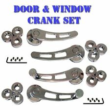 Chrome Door Handle and Window Crank Set Universal for Muscle Cars, Classic Cars