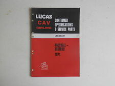 LUCAS Parts List 1971 VAUXHALL BEDFORD cars and commercials