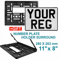 SQUARE PRESSED CAR 4x4 number plate 11x8 100 Legal Front White + surround holder