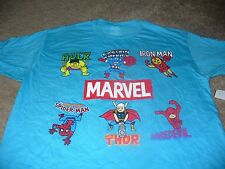 Marvel Comics Mens Hulk Iron Man Thor Captain America Blue T-Shirt Size XL