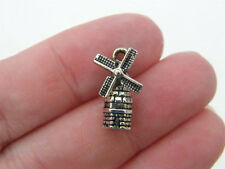 8 Windmill charms antique silver tone WT80