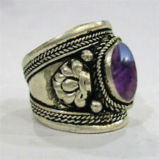 Large Adjustable Tibetan Silver Plated Amethyst Gemstone Dorje Amulet Ring