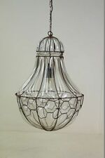 Rare large Glass lamp, Glas Hanging lamp with metal Cage Art nouveau Old Design