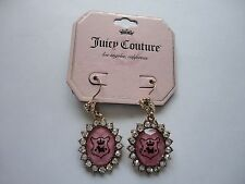 NEW Juicy Couture Dangle Pink And Gold Rhinestone Earrings
