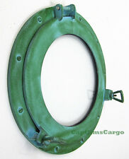 "Aluminum Green Finish 15"" Ships Porthole Glass Window Round Nautical Wall Decor"