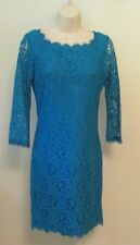 Diane von Furstenberg Zarita cornflower blue dress lace zipper 10 sheer New