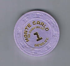 Monte Carlo $1.00 No Cash Value Casino Chip Reno Nevada