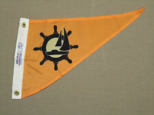 "Sailboat Wheel Boating Indoor Outdoor Dyed Nylon Boat Pennant Grommets 10"" X 15"""