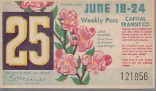 Trolly/Bus pass capital Transit Wash. DC--6/18/1950 -Apple Blossom----31