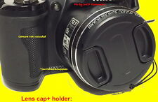 FRONT SNAP-ON LENS CAP DIRECTLY to CAMERA NIKON COOLPIX P100 P 100 +HOLDER
