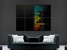 POSITIVE THINKING LIVE LIFE LOVE RELAX   WALL POSTER ART PICTURE PRINT LARGE