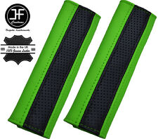 2X BLACK PERFORATED & GREEN  LEATHER LUXURY SHOULDER SEAT BELT PADDED PADS