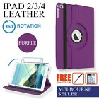 Purple iPad 4,4th, iPad 3,iPad 2 360° Leather Case Cover Stylus Screen Protector