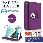 Purple iPad 4,4th, iPad 3,iPad 2 360° Leather Case Cover Stylus Screen Protector