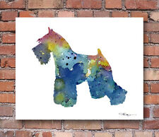 BLUE MINIATURE SCHNAUZER Contemporary Watercolor ART Print by Artist DJR